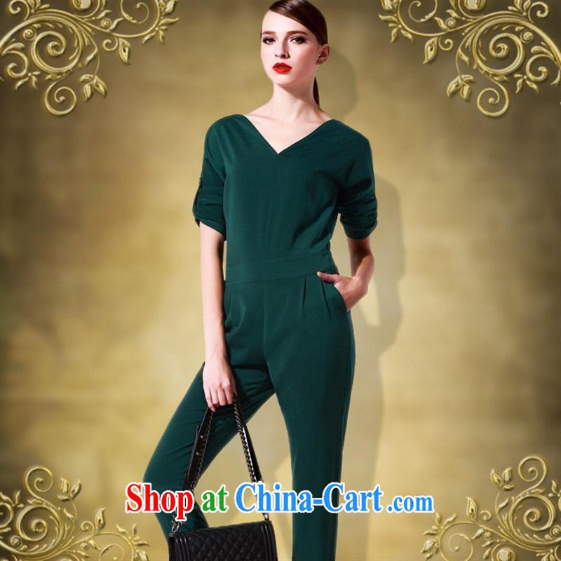 hamilton 2015 new career women with sexy V collar big temperament beauty-trousers 7 cuff-Trouser Press Video thin green XXL