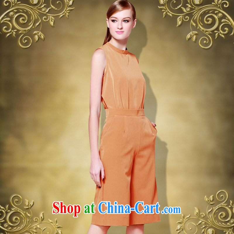 hamilton 2015 summer, the United States and Europe, the commute female solid-colored round-collar sleeveless pocket beauty-even in pants girls and color XL