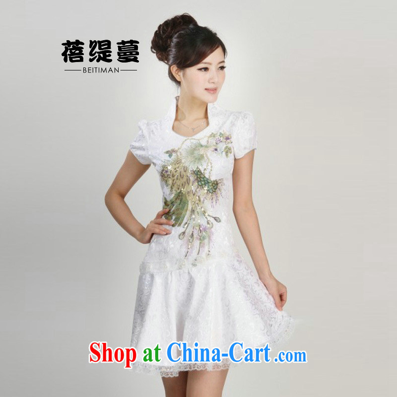 Mrs Ingrid sprawl economy 2015 spring new short-sleeved hand embroidery and heavy Silk Cheongsam white XL