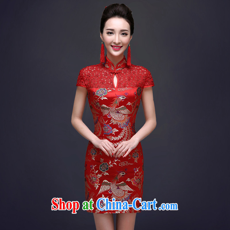 A good service is 2015 new toast clothing, bridal wedding dresses summer short with Chinese Dress female Red 2 XL