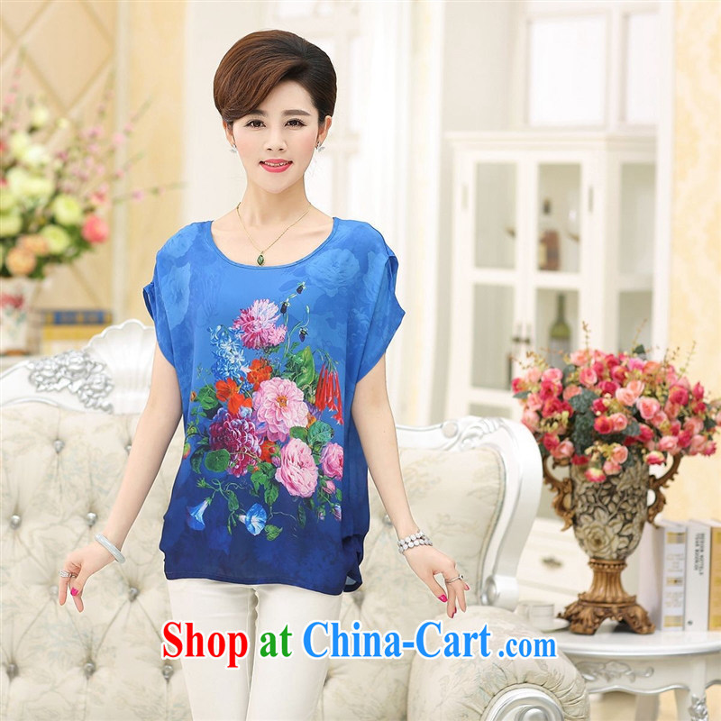 2015 middle-aged and older female summer silk large code loose female middle-aged mother with a short-sleeved sauna T silk shirts wholesale 璞嗘矙 XXXL