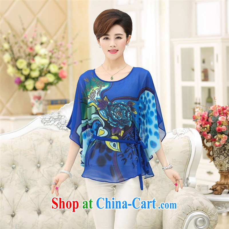 The older mother load summer silk short-sleeved T-shirt girls large, stamp duty sauna silk bat T-shirt short-sleeved T-shirt, blue XXL