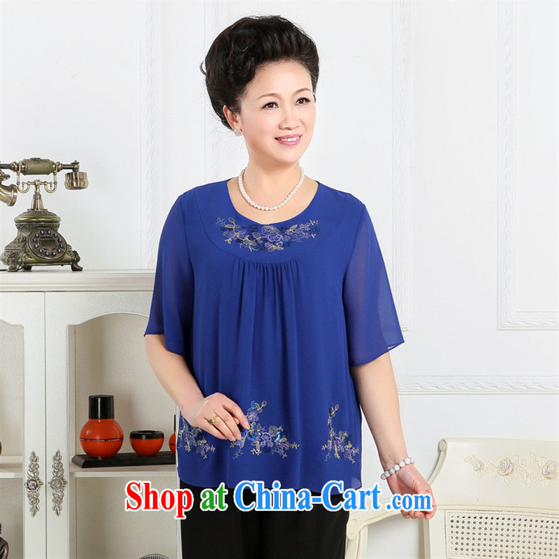 Wholesale manufacturers in 2015 older summer embroidered short sleeves Korean Day silk stylish T-shirt the mixed batch Po blue 5XL