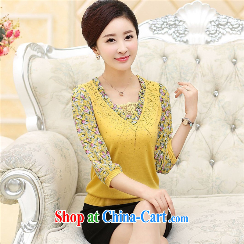 Spring 2015 new, middle-aged and older yarn cuff mother load V collar T-shirt large, loose middle-aged ladies solid yellow T-shirt 115 XL