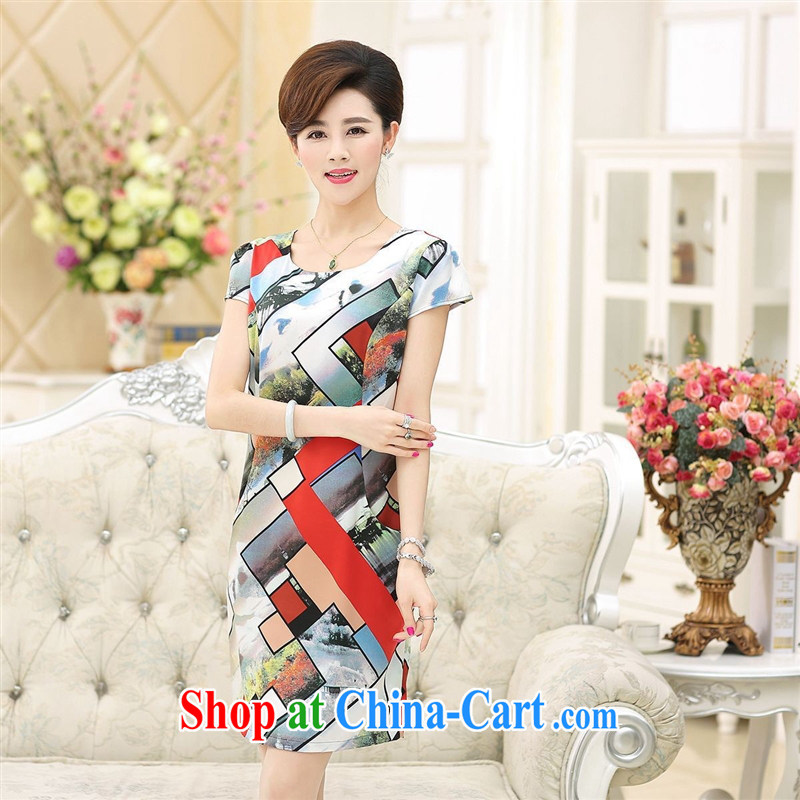 2015 new summer flowers positioned Silk Dresses girls in older mothers with round-collar short-sleeve dress in the red and white XXXL article