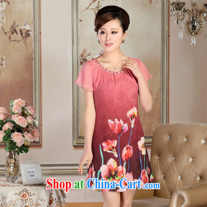 New, Old ladies boutique summer mom with silk dresses round-collar short-sleeved Silk Dresses wholesale egg yolk XXXL