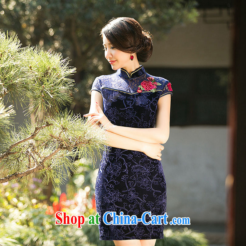 The cross-sectoral remembered her new lace stitching wool improved cheongsam Chinese wind cheongsam dress everyday dresses dresses ZA 070 dark blue L
