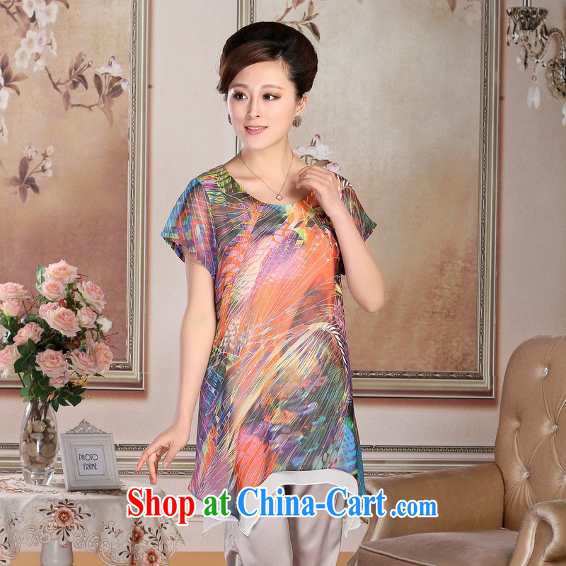 New, older women's clothing summer boutique style mother load dresses silk, long, loose dress Pink Blue XXXL