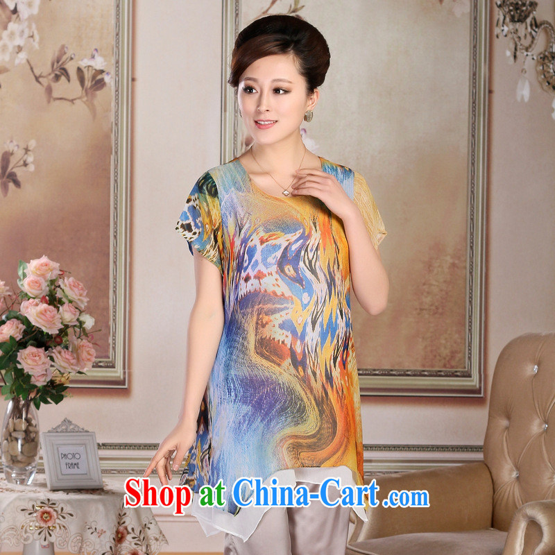 New Middle-aged and older women's clothing summer boutique stylish mom with dresses silk, long, loose dress Pink Blue XXXL, health concerns (Rvie .), and, on-line shopping