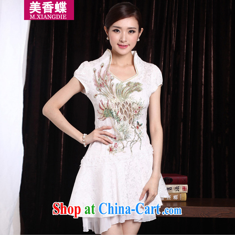 US-Hong Kong butterfly summer 2015 new female fashion improved retro beauty graphics thin everyday dresses skirts short dress Golden Phoenix XL