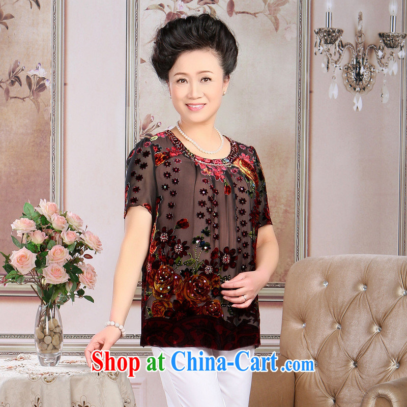 The older female summer silk T shirt mom with high quality silk black flower lint-free cloth short-sleeved T-shirt loose, wholesale stars increase XXXL