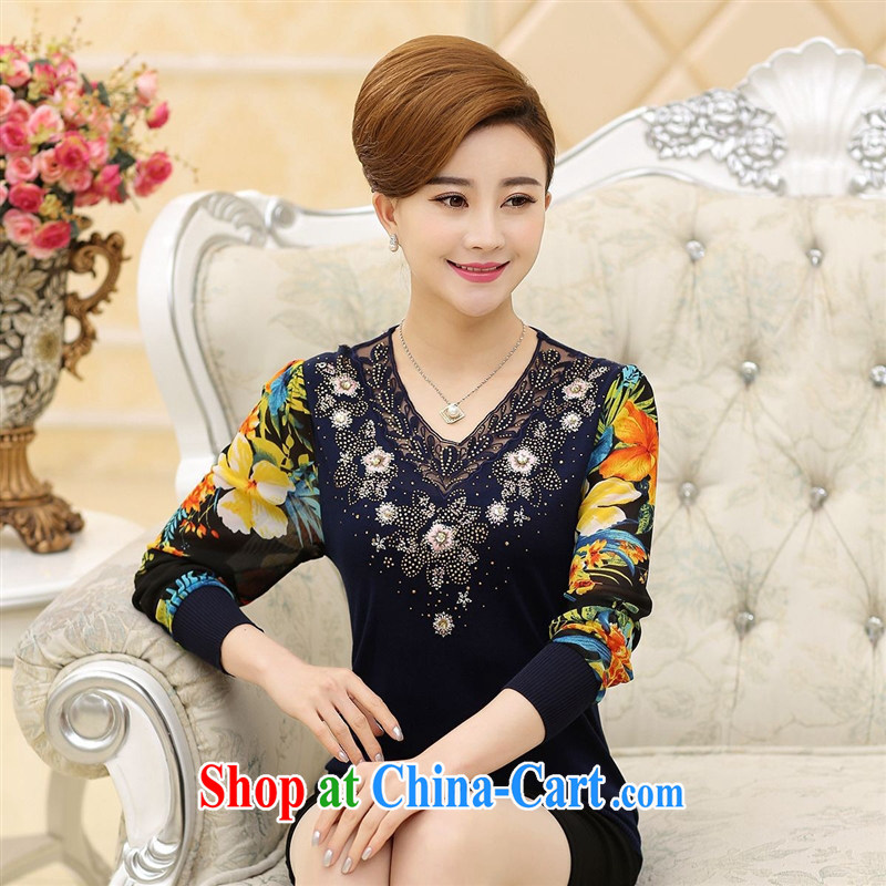 The older female spring 2015 new mom with stylish knitted T-shirt loose round-collar yarn sleeves and solid shirt Navy 120 XXL
