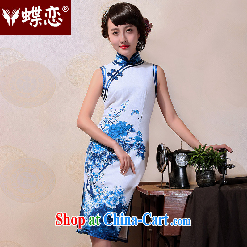 Butterfly Lovers 2015 summer new, blue and white porcelain basket the commission improved fashion cheongsam dress retro everyday dresses sleeveless XL