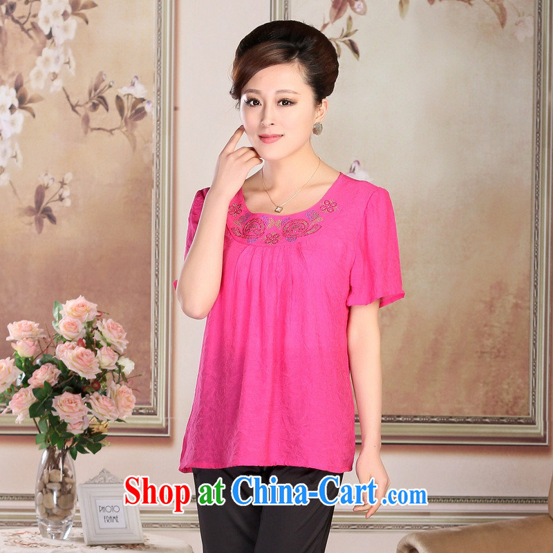 New, older women summer short-sleeve shirt T cotton the mother load short-sleeved T-shirt ironing drill short-sleeved stamp hot drill the red increase XXXL