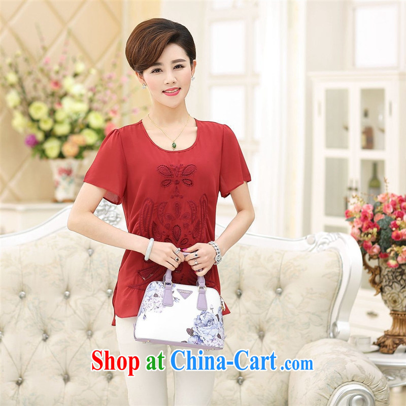 In 2015 older short-sleeved shirt T female summer the code female loose embroidered mother Load T shirt factory wholesale green increase XXXL
