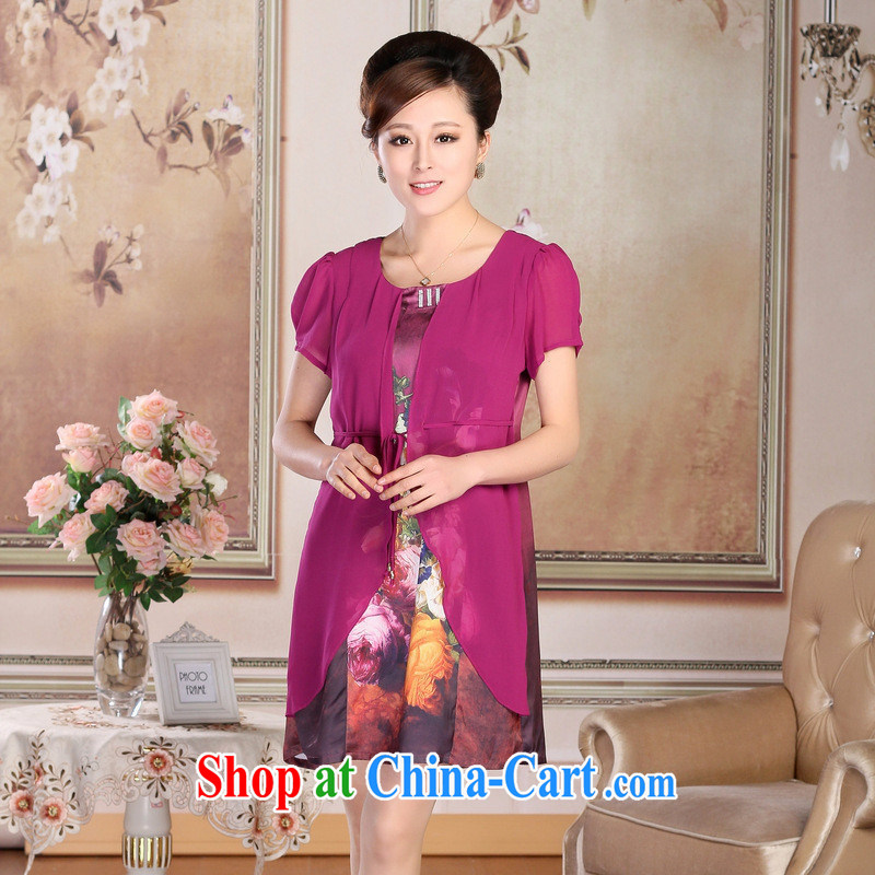 Summer 2015 the older XL mother false Two-part silk stretch Satin Poster dresses girls wholesale first of red XXXL