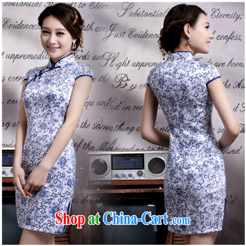 Retro improved short daily Tang decorated in blue and white porcelain summer stylish girl dresses 2015 new outfit blue and white porcelain size is tight_recommend a code