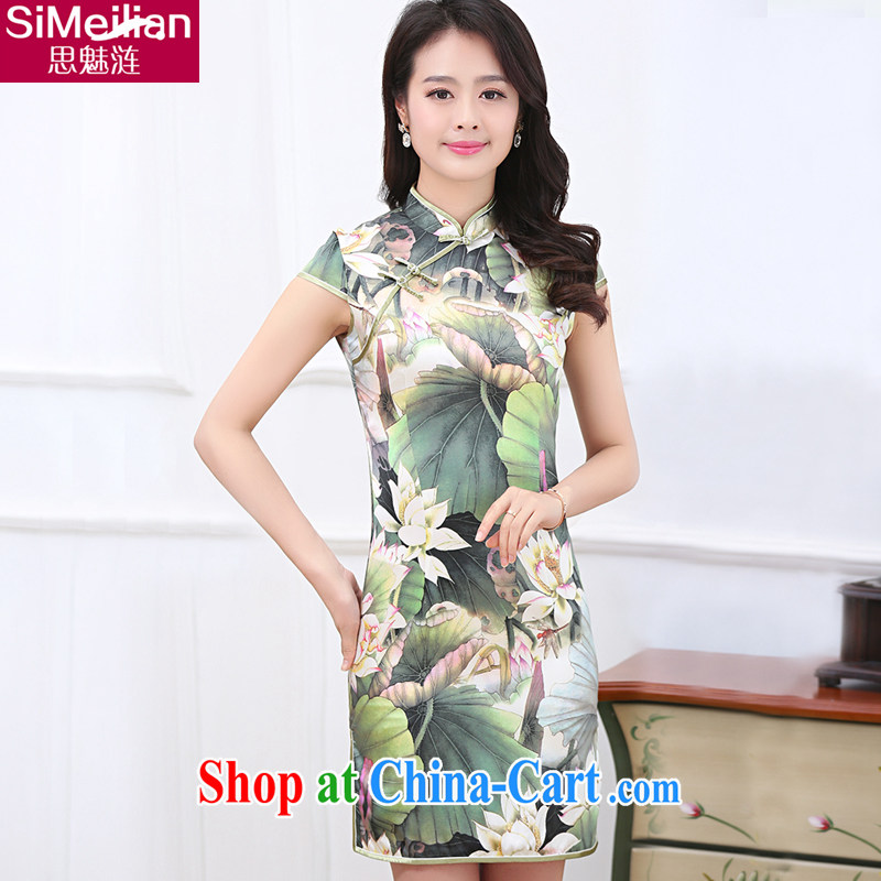 The obstacle of 2015 summer fashion, for Lotus Pond blue and white porcelain poster stamp a cuff, with the forklift truck is really short-sleeved Silk Cheongsam dress short improved Tang with lotus pond XXL