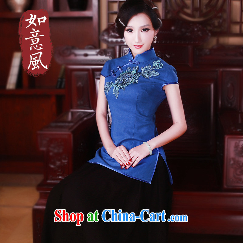Ruyi wind 2015 New Tang women Summer winds of cotton the classical short-sleeved, short T-shirt 5028 blue XL