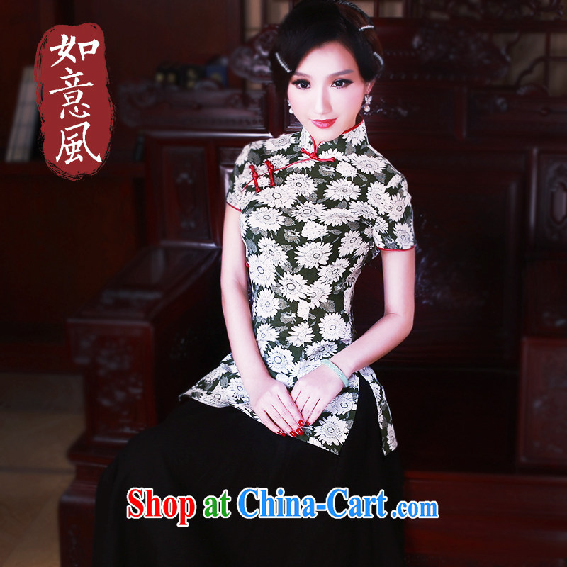 Unwind after the 2015 spring new Chinese short sleeves cheongsam improved long-sleeved T-shirt, Ms. Shen Tang replace 5091 fancy M