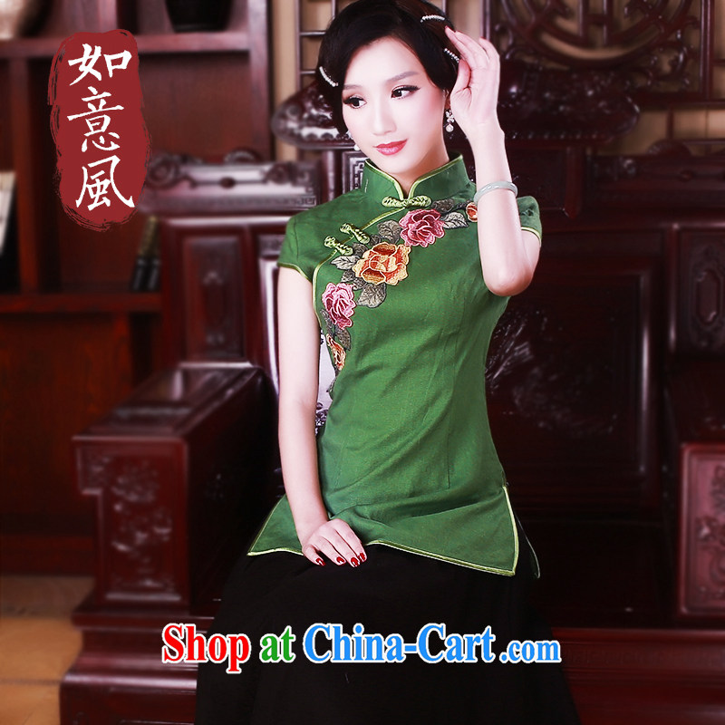 Ruyi wind spring China wind cotton the improved Chinese T-shirt retro ethnic wind outfit mounted on women 5025 green XL
