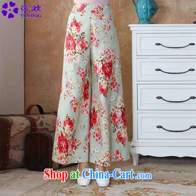 According to fuser spring loaded new female Chinese qipao ink stamp duty cotton the Tang with wide leg trousers WNS_2504 _ 1 _4 XL
