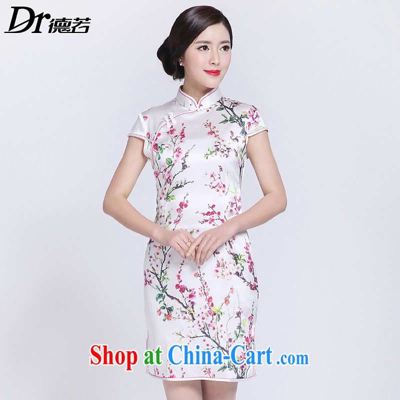 Dr, if 2015 New Silk aura beauty retro outfit sauna silk dress DR 15,716 peach XL