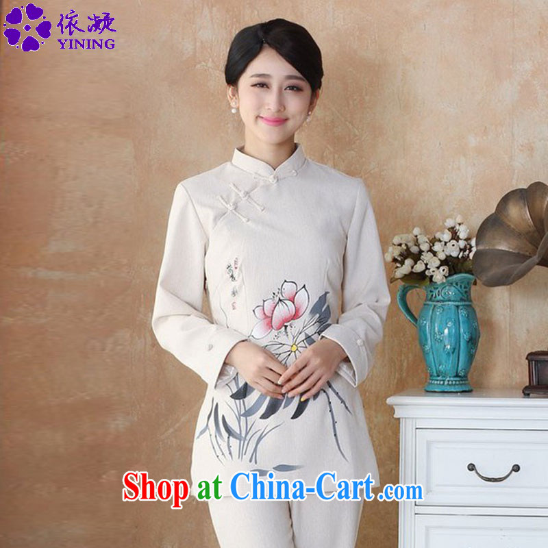 In accordance with new fuser, female retro ethnic-Chinese qipao, for a tight Classic tray snap hand-painted Sau San Tong long-sleeved T-shirt with WNS/2508 # 1 #4 XL