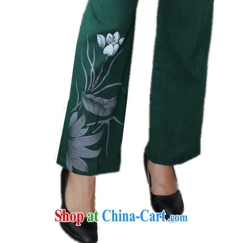 According to fuser stylish new clothes daily improved Chinese qipao ink stamp cotton Ma Tang pants WNS/2502 # 1 #4 XL, according to fuser, and shopping on the Internet
