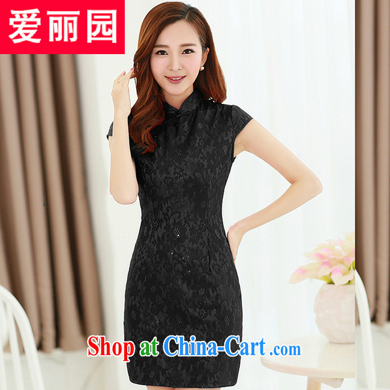 Alice Park 2015 summer new dress cheongsam dress summer dresses improved package and skirt dresses female black XL
