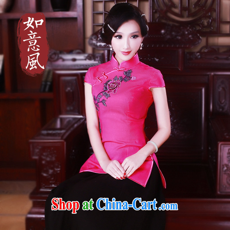Ruyi wind 2015 new cheongsam shirt improved summer wind China Chinese Tang women's clothes ethnic wind by 5026 red M