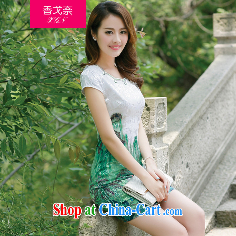 The Shannon Gore, 2015 female new Ethnic Wind Chinese half sleeve Chinese stamp ink retro beauty style graphics thin package and cheongsam dress green XXL
