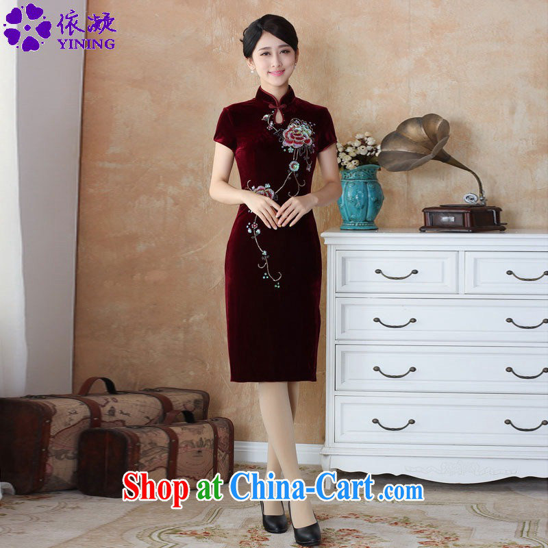 According to fuser new female Ethnic Wind improved Chinese qipao and territorial waters drip collar wool manually staple in Pearl Tang cheongsam with skirt WNS_2511 _3 - 3 _4 XL