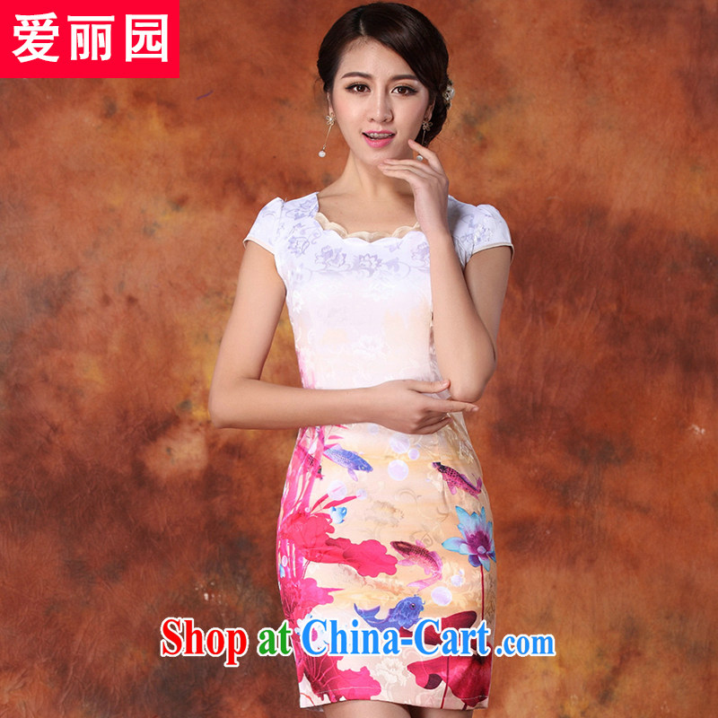 Alice Park 2015 summer new dress cheongsam dress summer dresses improved package and skirt dresses female Red XXL