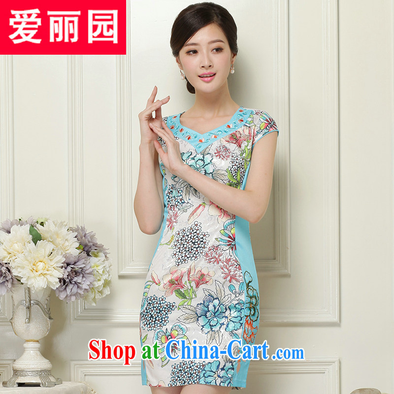 Alice Park 2015 summer new dress cheongsam dress summer dresses improved package and skirt dresses female Green XXL