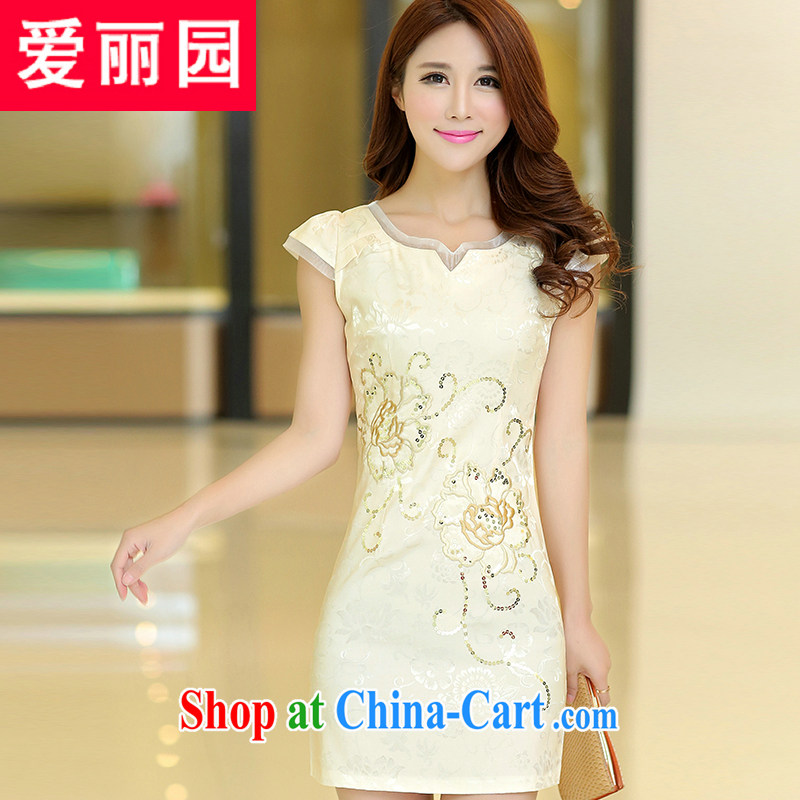 Alice Park 2015 summer new dress cheongsam dress summer dresses improved package and skirt dresses female apricot XL