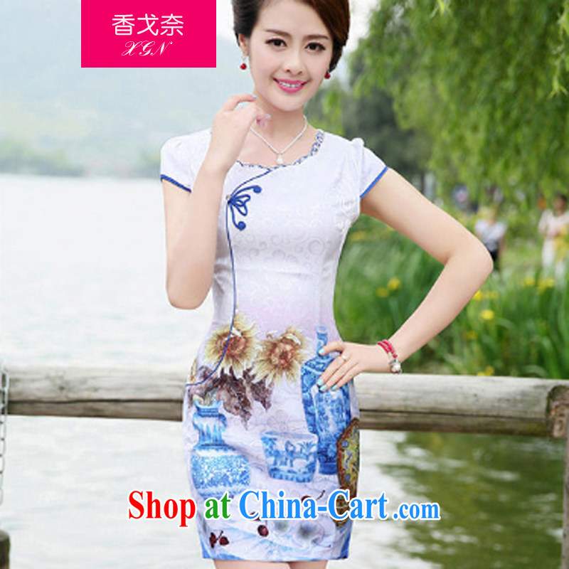 The Scent of Summer 2015 new chinese daily cheongsam stylish improved Chinese China retro blue and white porcelain cheongsam dress flower vase XXL