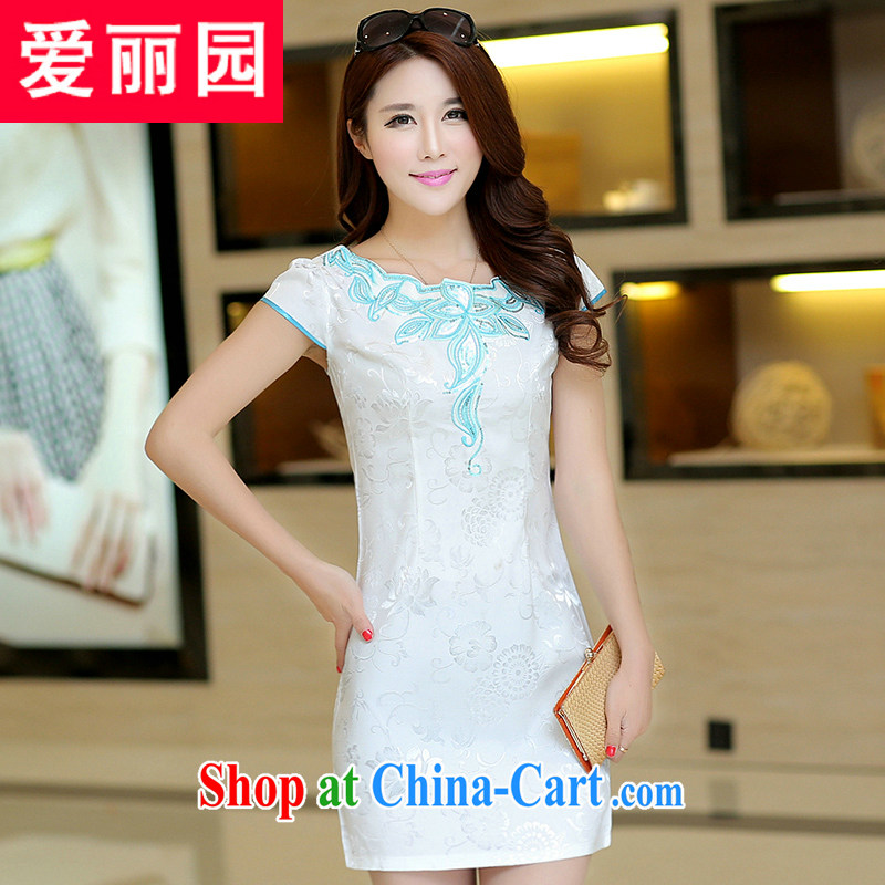 Alice Park 2015 summer new dress cheongsam dress summer dresses improved package and skirt dresses female white XL