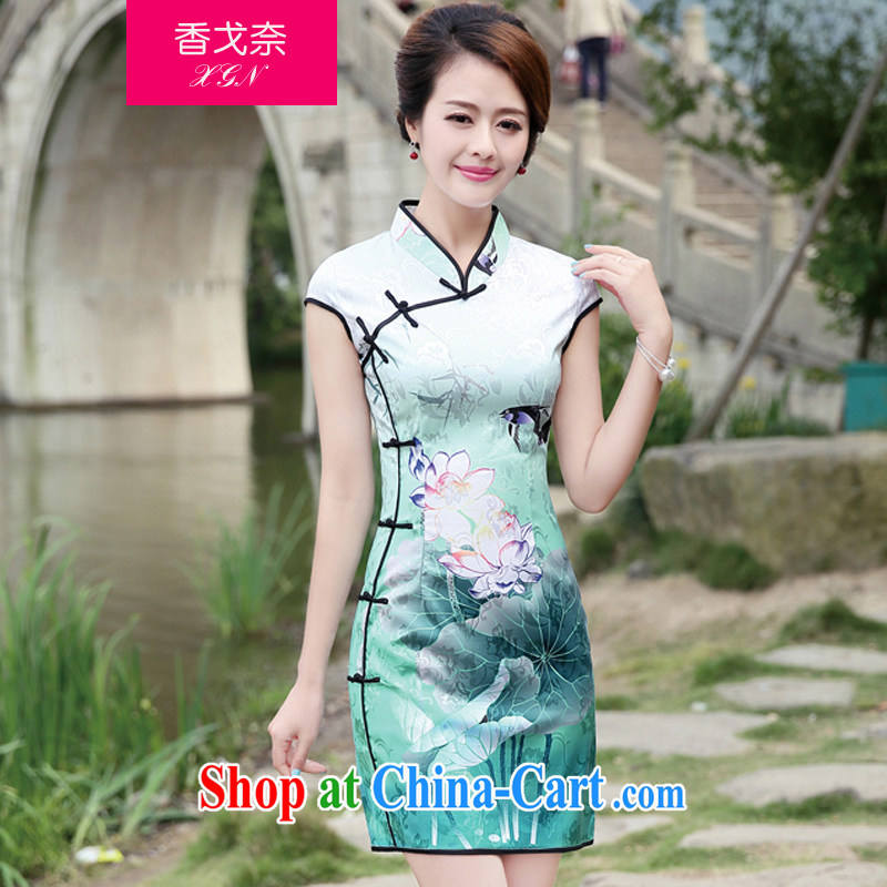 The Scent of Summer 2015 new female retro improved image of the Lotus Chinese antique Chinese wind cheongsam dress black L