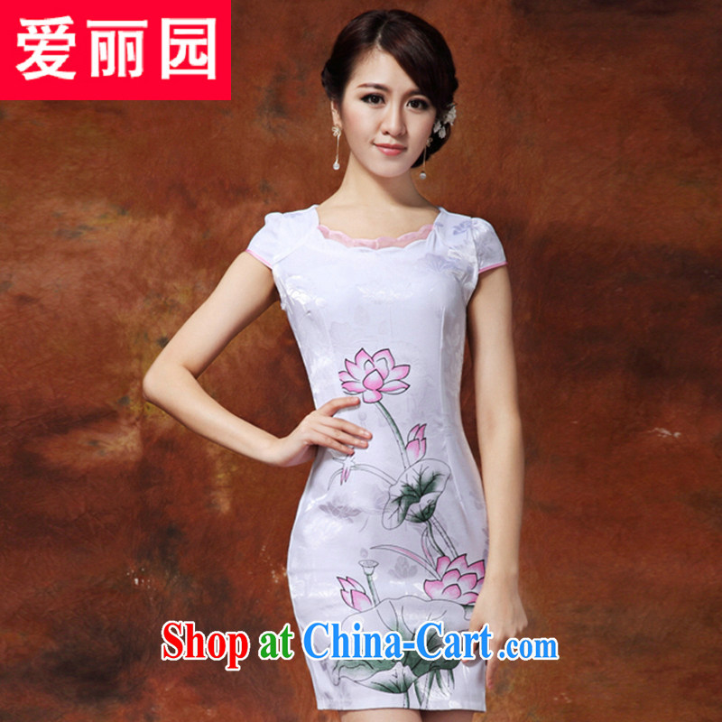 Alice Park 2015 summer new dress cheongsam dress summer dresses improved package and skirt dresses female white XXL