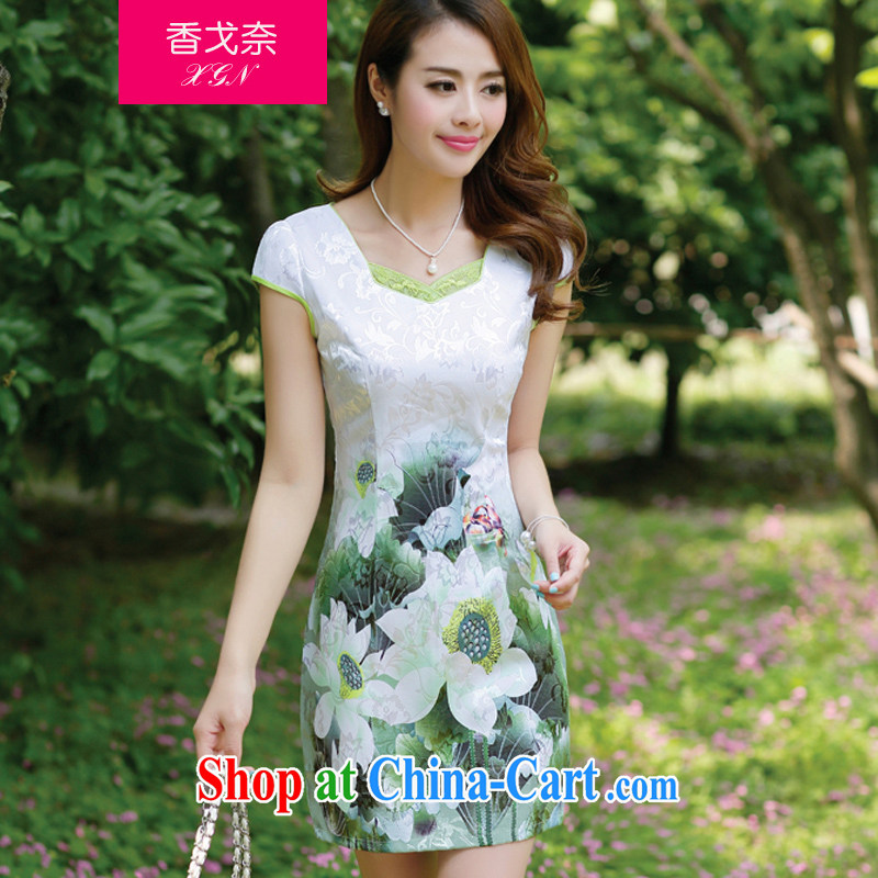 The Scent of Summer 2015 New China wind dresses plain-colored outfit?with improved retro pixel-color dresses skirt green XXXL