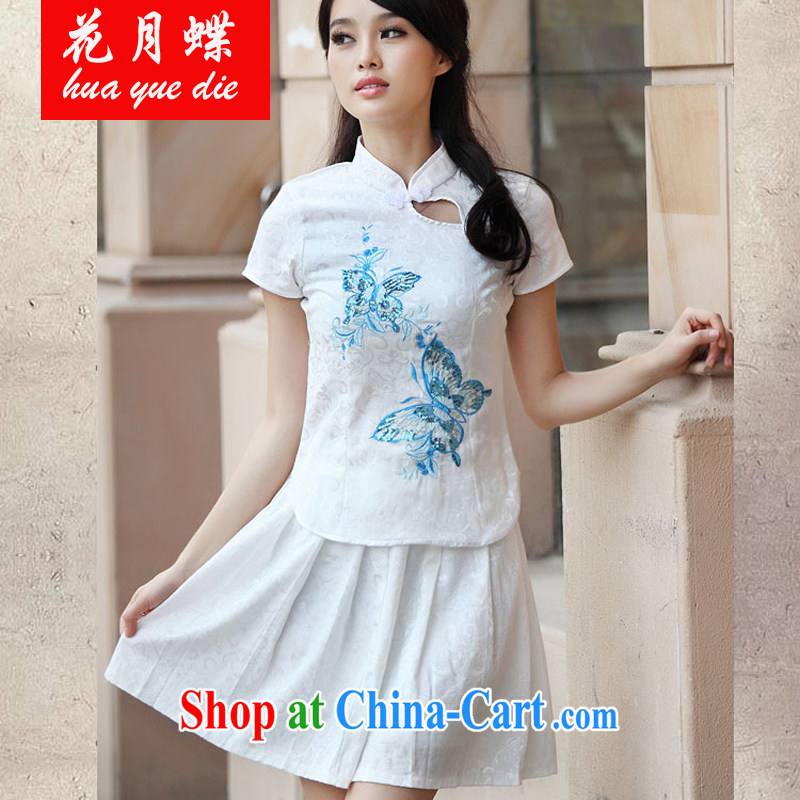 spend months summer dish with new dresses, Retro fresh Chinese to Butterfly cheongsam dress JE RA 044 6908 blue XL