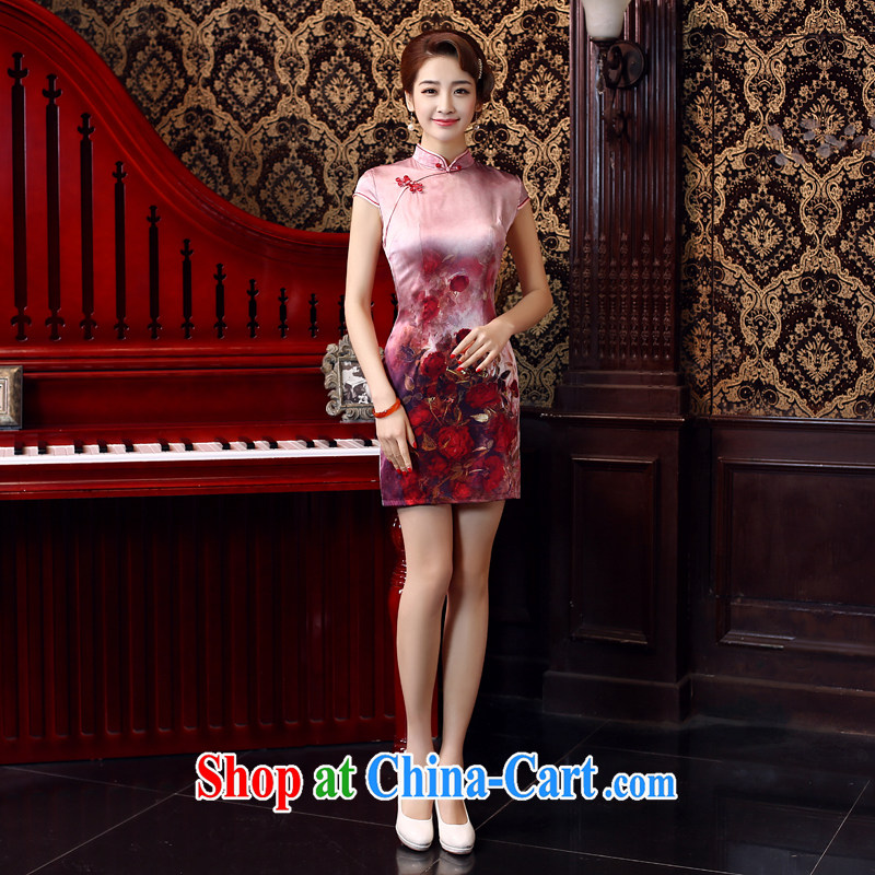 Su Wu edge 2015 new Chinese Antique summer short Silk Dresses daily video thin stylish dresses skirts dresses green L