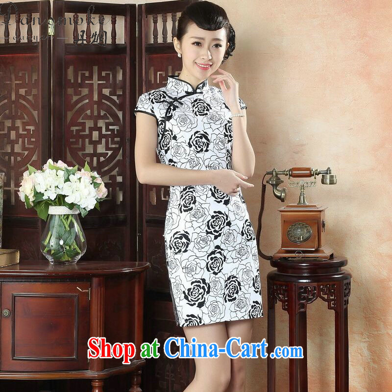 Dan smoke summer new cheongsam dress Chinese peony flower basket Sai Kung Sau San short cheongsam dress improved stylish everyday goods such as Map Color M