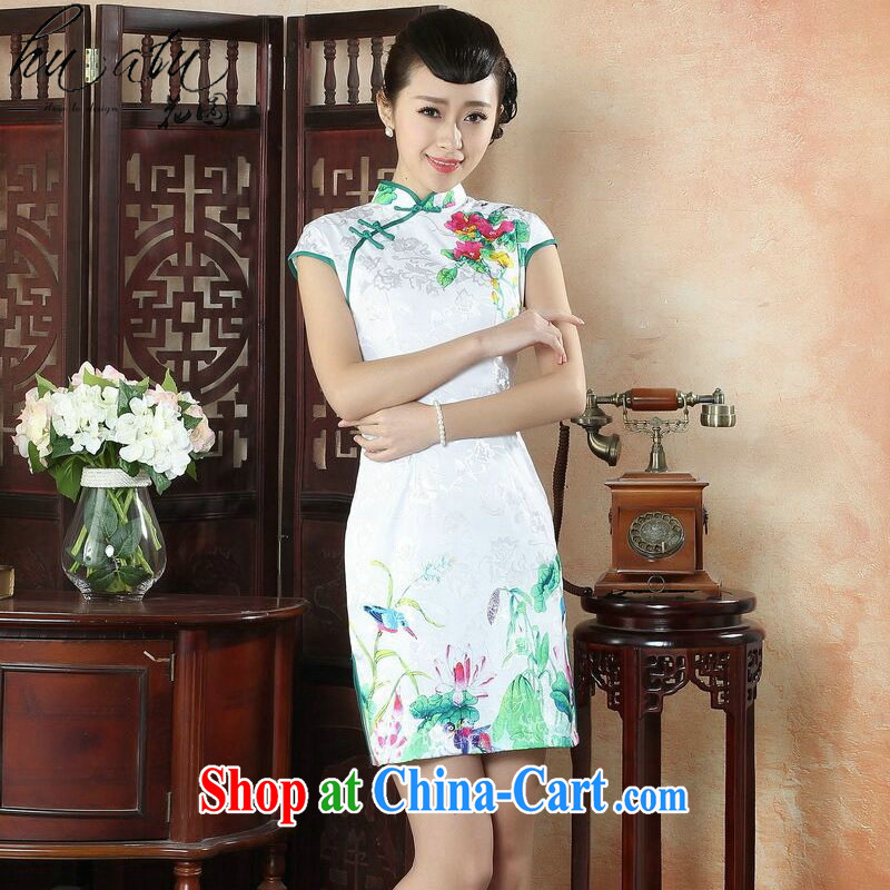Dan smoke summer female daily dress retro improved short-sleeved dresses skirt elegance beauty graphics thin lady short dresses such as the color 2 XL