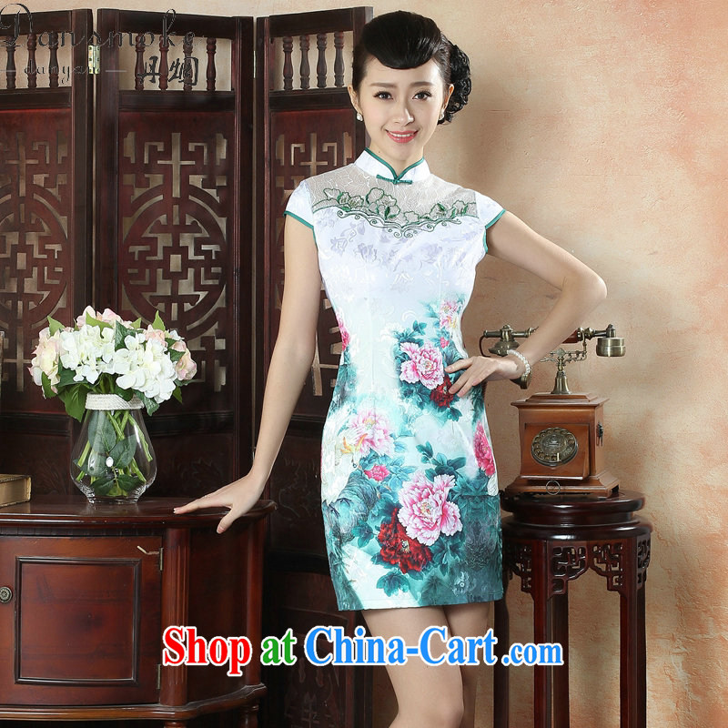 Bin Laden smoke women stylish summer improved cultivation cheongsam dress everyday style graphics thin cotton robes short lace stitching qipao as shown color 2 XL