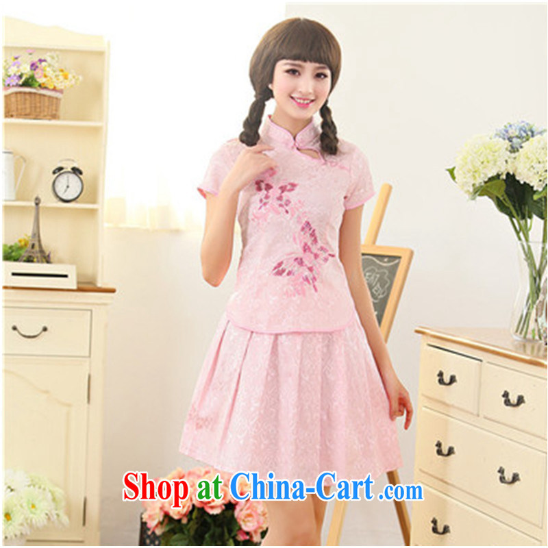 qipao Kit two-piece improved day-students of Korea girls short cheongsam dress retro show serving short summer load toner the pink butterfly L