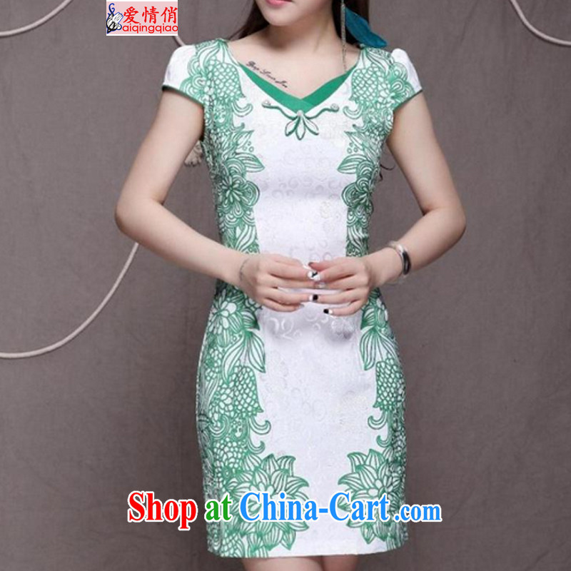 Love For 2015 high-end Ethnic Wind stylish Chinese qipao dress retro beauty graphics thin cheongsam FF 9912 green XL