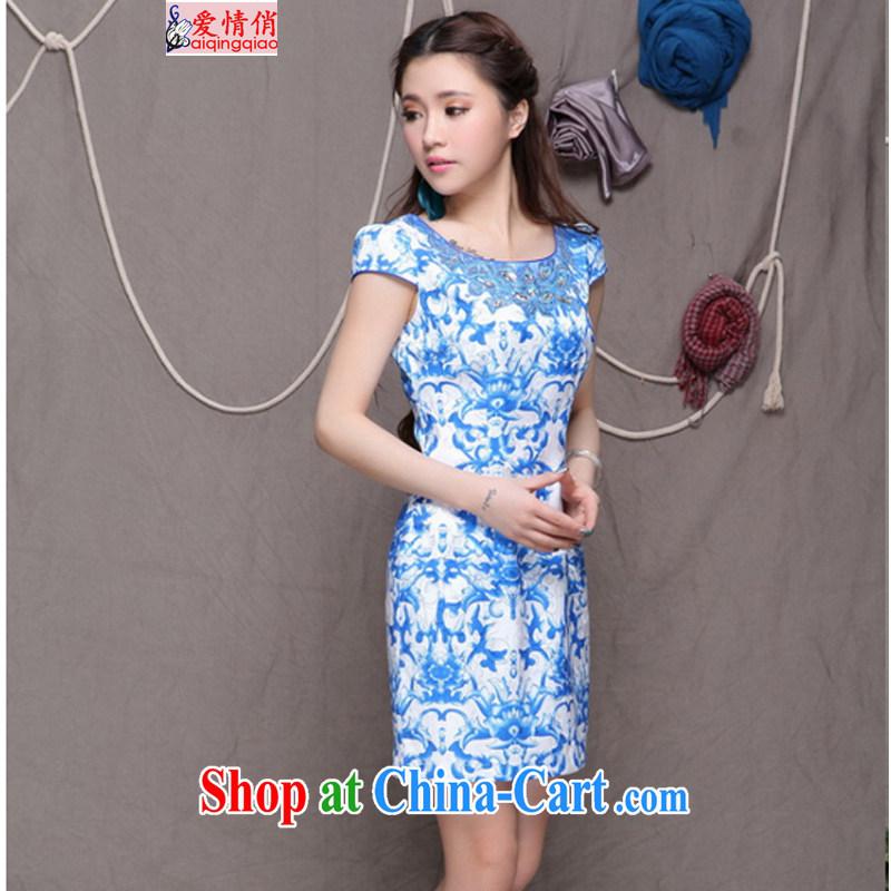 Love For 2015 high-end Ethnic Wind stylish Chinese qipao dress retro beauty graphics thin cheongsam FF 9901 blue blue S