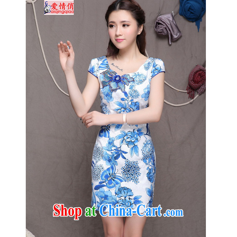 Love, 2015 embroidery cheongsam high-end Ethnic Wind stylish Chinese qipao dress retro beauty dresses FF 990 blue blue L